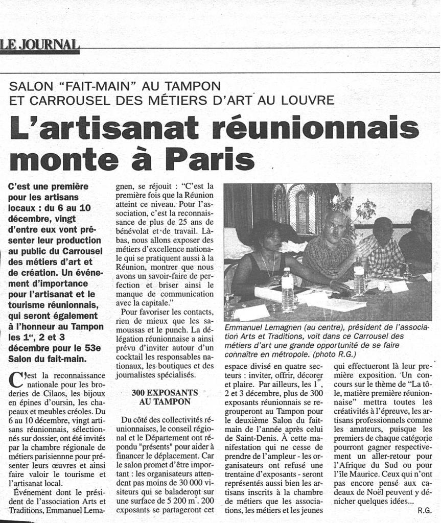 Article du journal de l'Ile de la Réunion Décembre 1999