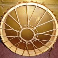 Tambour chamanique peau vache translucide 50 cm de diamètre