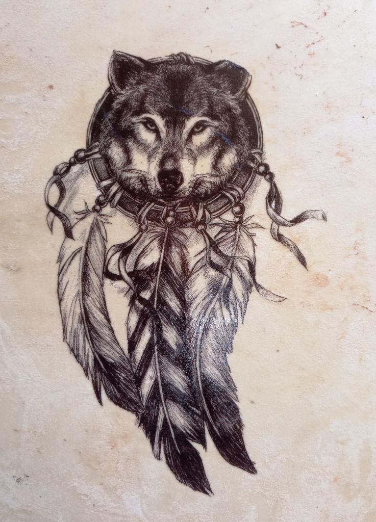 Loup decalco 2 jul 35 cm