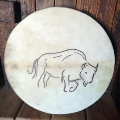 Tambour chaman rond bison 40 cm face